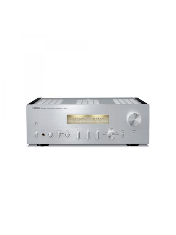 AMPLIFICADOR ESTÉREO A-S1100 - Amplificador estéreo de alta fidelidad diseñado con paneles laterales de madera. Disponible en plata.