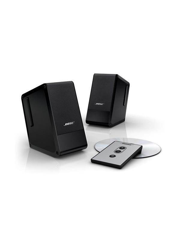 Bose Computer Music Monitor - Circuito TrueSpace de procesamiento de señales que amplía la imagen acústica de altavoces situados a corta distancia en el escritorio. Diseño de Radiador pasivo (2 por altavoz). Ajuste de balance de tonos automático. El circuito de comprensión ayuda a evitar que se produzcan molestas distorsiones. Mando a distancia. Acabado Aluminio ó en Negro. Dimensiones (al x an x f):12,2 x 6,5 x 12,3cm (unidad)