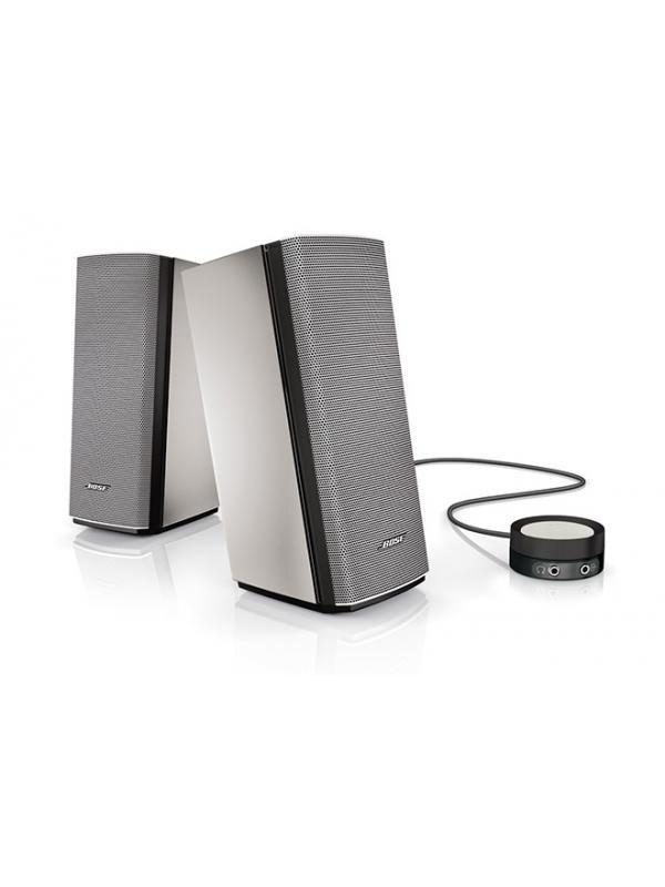 Companion 20 - Nuestro mejor sistema de dos altavoces diseñado para llenar la sala de sonido. Sonido natual. Diseño estilizado que reduce el espacio y complementa perfectamente al ordenador. Mando cableado para control de volumen y conectar auriculares u otros dispositivos. Dimensiones altavoces: 22x9x12cm (cada uno)