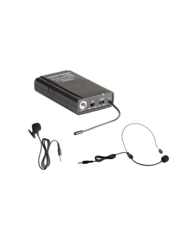 DENON ENVOI HL TRANSMITTER - Transmisor de petaca adicional que incluye micrófono de diadema y micrófono de corbata.