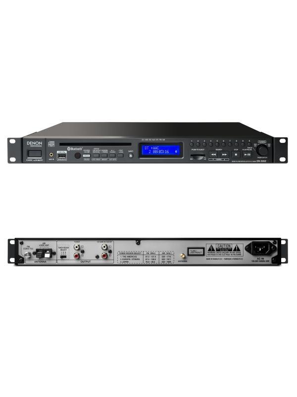 Reproductor Multiformato Denon PRO DN-300Z - El DN-300Z cuenta con gran funcionalidad dentro en una unidad de rack. Cuenta con Bluetooth para hacer streaming inalámbrico, así como diferentes ranuras en el panel frontal (CD, USB, SD/SDHC) que permiten reproducir cualquier soporte. Características como la pantalla LCD frontal o el selector facilitan el uso. Soporta archivos CD-DA, MP3, WAV y AAC, y cuenta con un sintonizador AM/FM con entrada para antena coaxial de 75-ohm (FM) y de lazo (AM) para mejorar la recepción.