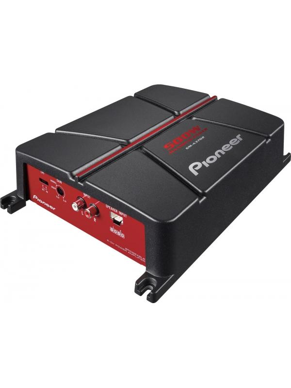 Amplificador puenteable de 2 canales (500W) GM-A3702 PIONEER - Diseñado para mejorar la experiencia de audio en el coche, el potente GM-A3702 te da libertad total en la instalación y muy baja distorsión. Con un disipador de calor de un cuerpo y el ajuste de ganancia de hasta 6,5 V, puedes convertir tu experiencia de audio en el automóvil en el entorno sonido perfecto que estás buscando.   El GM-A3702 soporta altavoces de 2 Ohm y 4 Ohm, y puede producir hasta 500 W de potencia cuando está puentado. Este producto también está disponible como pack combinando nuestro subwoofer TS-W306R con cables (GXT-3706B-SET) o sin cables (GXT-3706B).