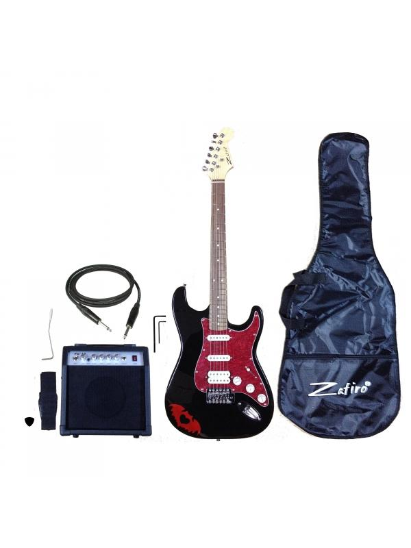 PACK ZAFIRO GUITARRA EN NEGRO Y ROJO - Completo pack de guitarra eléctrica de nuestra marca exclusiva ZAFIRO en negro con golpeador rojo nacar.