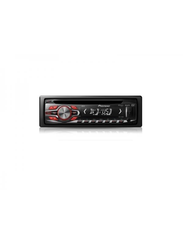 Reproductor de DVD y CD con USB frontal DVH-340UB PIONEER - Reproduce vídeo en DVD, DVD-R, DVD-RW y vídeo en CD así como CD, CD-R y CD-RW.  El sistema también reproduce archivos MP3, WMA, AAC, JPEG y DivX de DVD o de USB cuando conecte un dispositivo de memoria a la ranura USB frontal.