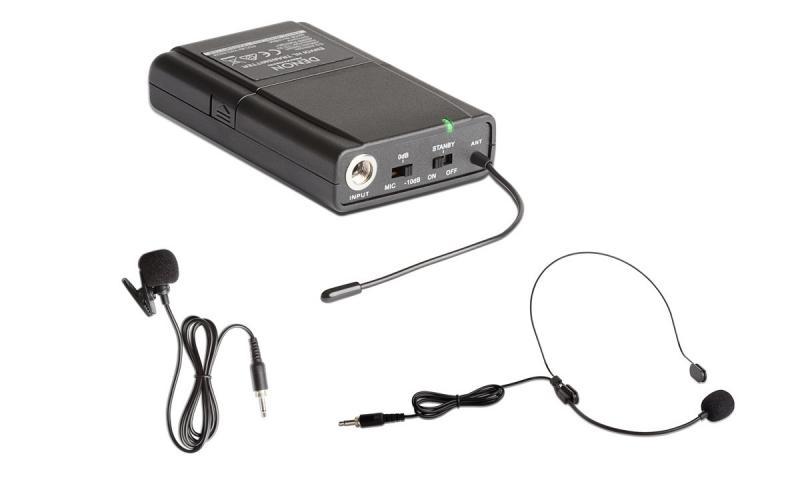 DENON ENVOI HL TRANSMITTER - Transmisor de petaca adicional DENON ENVOI HL TRANSMITTER que incluye micrófono de diadema y micrófono de corbata.