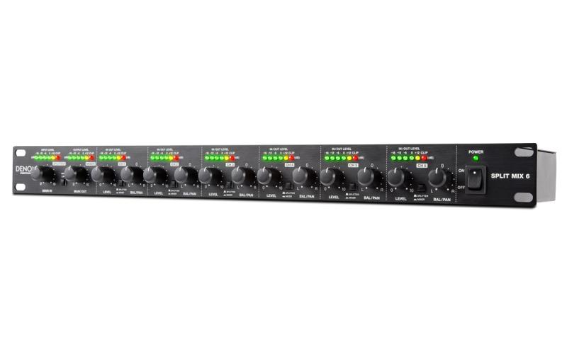 DENON SPLITMIX6 - Mezclador DENON SPLITMIX6 formato rack 1U de 6 canales de línea con posibilidad de funcionamiento como splitter.