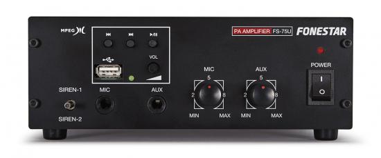 AMPLIFICADOR MEGAFONÍA CON SIRENA 60W CON  USB-MP3 FONESTAR FS-75U
