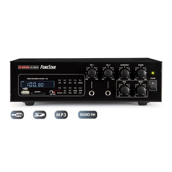 AMPLIFICADOR MEGAFONÍA PREMIUM 45W 30W RMS CON USB SD MP3 FONESTAR MA-30RGU