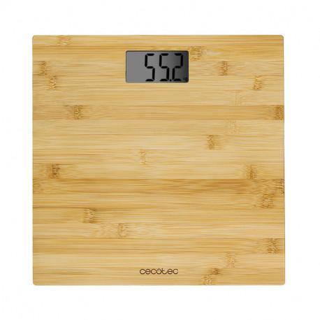 Báscula de baño digital de alta precisión. Con plataforma de bambú (eco-friendly), pantalla LCD y ca